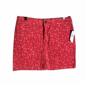 Vineyard Vines Pink and Red Anchor Corduroy Skirt